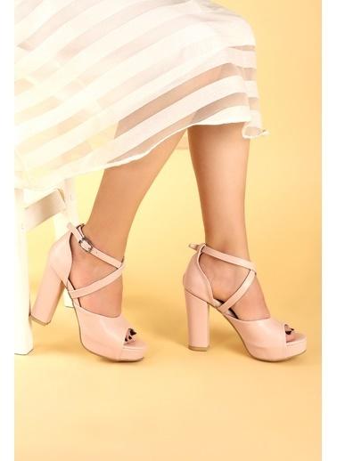 Ayakland Ayakland 3210-2058 Cilt Abiye 11 Cm Platform Topuk Bayan Sandalet Ayakkabı Pudra